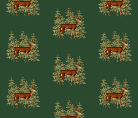 Vintage_deer_in_woods_green fabric by jennifer_rizzo on Spoonflower - custom fabric