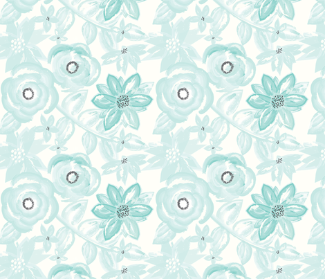 Spring Garden Watercolor Floral in Turquoise fabric by sugarfresh on Spoonflower - custom fabric