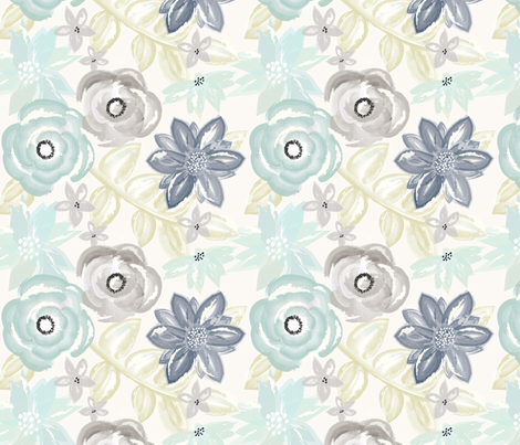 Spring Garden Watercolor Floral in Blue Green fabric by sugarfresh on Spoonflower - custom fabric