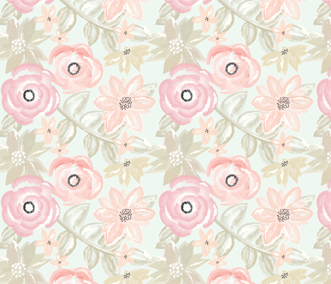 Spring Garden Watercolor Floral in Pink fabric by sugarfresh on Spoonflower - custom fabric