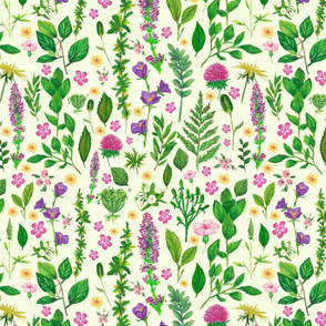 Floral oil cryons in green and purple