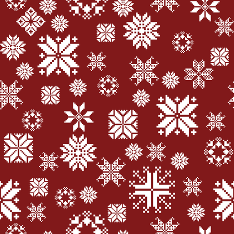 Sticka Sno in white on falu red fabric by lilyoake on Spoonflower - custom fabric