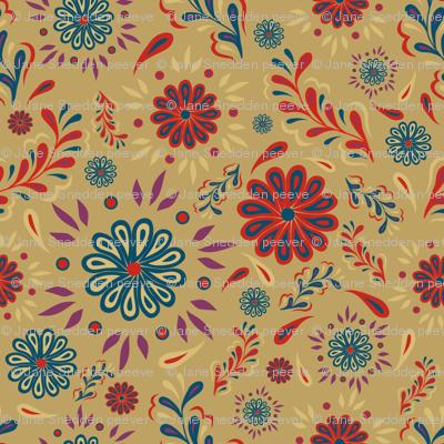 Garden party autumn fabric jspcreate spoonflower for Garden party fabric by blackbird designs