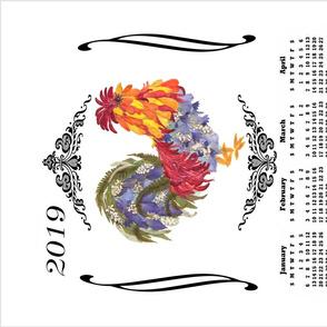 2019 Rooster Calendar Towel