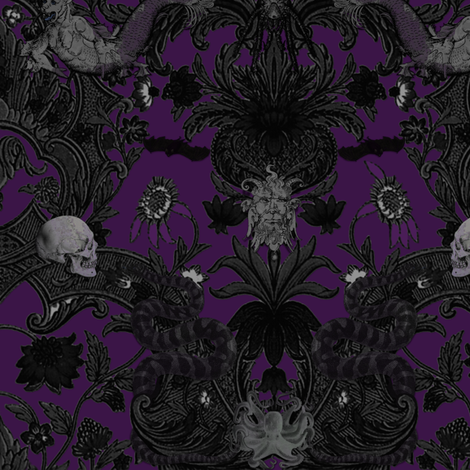 This Is Halloween Haunted House Damask Nightmare Fabric By Peacoquettedesigns On Spoonflower