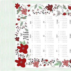 2016 Tea Towel Calendar Flowers and Birds Mint Green and Red