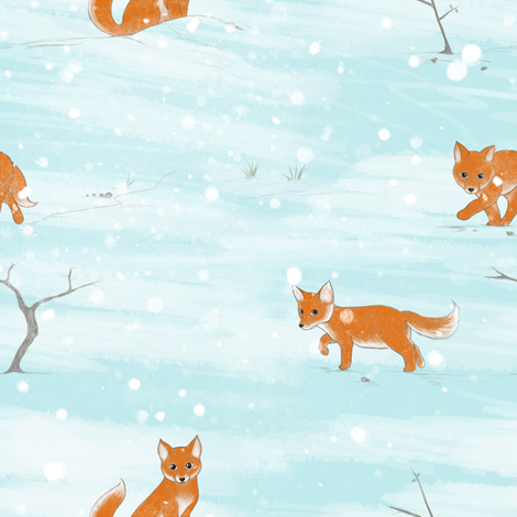 Foxes in the snow fabric by charlottebaz on Spoonflower - custom fabric