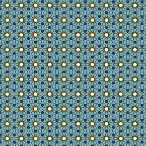 Scraffito tile teal and yellow