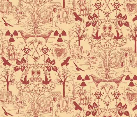 Post Apocalypse Toile Larger fabric by vinpauld on Spoonflower - custom fabric