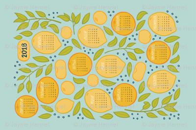 2018 Citrus Tea Towel Calendar - Robin's Egg