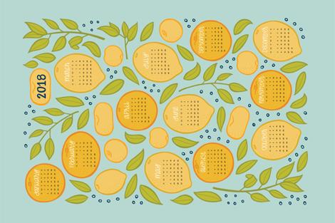 2018 Citrus Tea Towel Calendar - Robin's Egg fabric by jaymehennel on Spoonflower - custom fabric