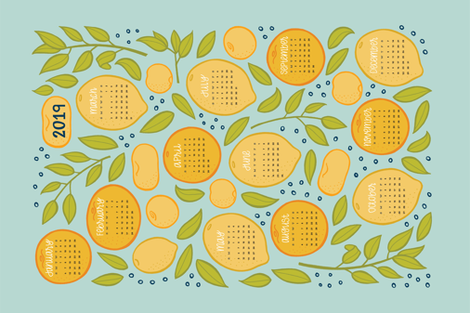 2019 Citrus Tea Towel Calendar - Robin's Egg fabric by jaymehennel on Spoonflower - custom fabric