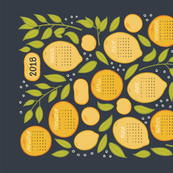 2018 Citrus Tea Towel - Charcoal