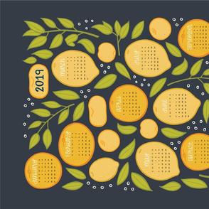 2019 Citrus Tea Towel - Charcoal