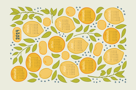 2019 Citrus Tea Towel - Beige fabric by jaymehennel on Spoonflower - custom fabric
