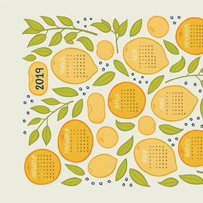 2019 Citrus Tea Towel - Beige