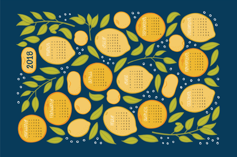 2018 Citrus Tea Towel - Navy