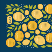 2018 Citrus Tea Towel - Navy