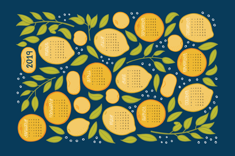 2019 Citrus Tea Towel - Navy fabric by jaymehennel on Spoonflower - custom fabric
