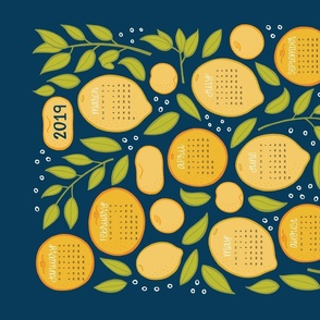 2019 Citrus Tea Towel - Navy