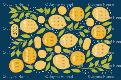 2017 Citrus Tea Towel - Navy