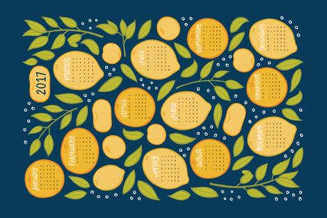 2017 Citrus Tea Towel - Navy fabric by jaymehennel on Spoonflower - custom fabric