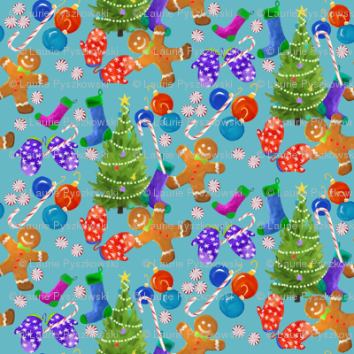 Lighter Blue Christmas Wrap with Gingerbread men