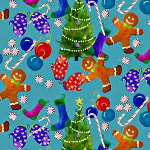 Christmas in Blue with Gingerbread Men