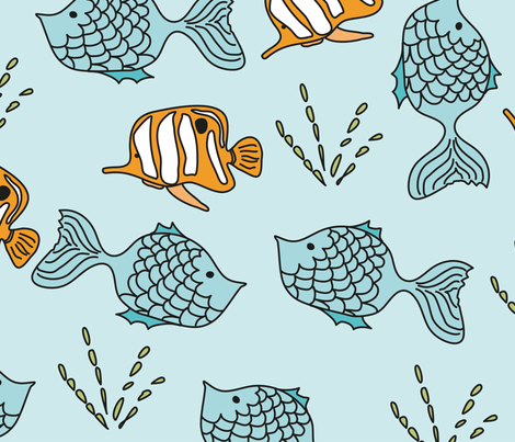 Underwater Clown Fish fabric by creative_twist on Spoonflower - custom fabric