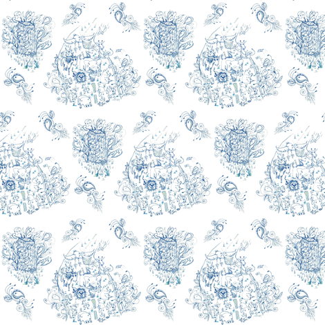 Mother Nature Wins, small scale, blue and white toile fabric by amy_g on Spoonflower - custom fabric