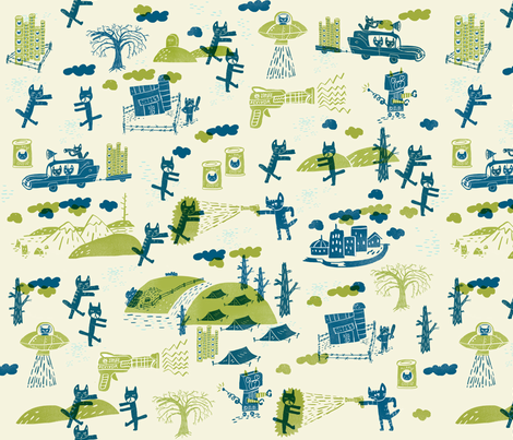 Kitties of the zombie apocalypse fabric by skbird on Spoonflower - custom fabric