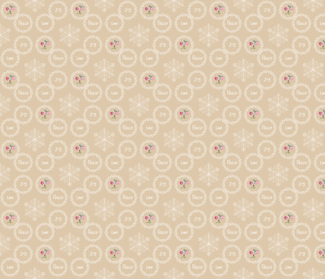 Peace Love Joy - Beige fabric by argenti on Spoonflower - custom fabric
