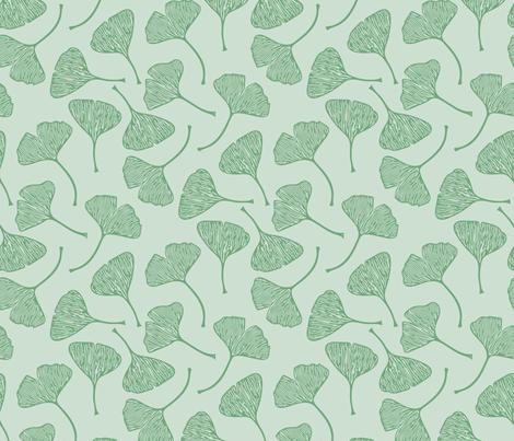 Ginkgo Leaf Green  fabric by beththompsonart on Spoonflower - custom fabric