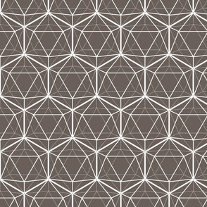 Icosahedron White on Brown