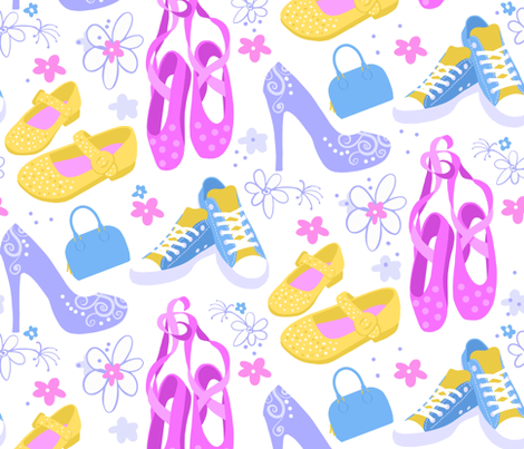 High heels, sneakers, blue purse and pink ballet shoes with flowers fabric by reneeciufo on Spoonflower - custom fabric