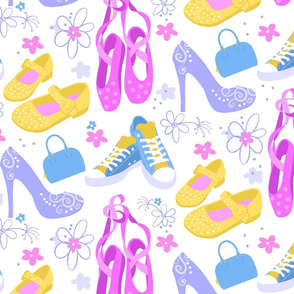 High heels, sneakers, blue purse and pink ballet shoes with flowers