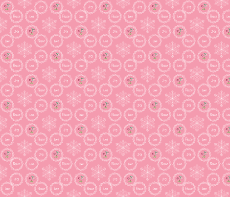 Peace Love Joy - Pink fabric by argenti on Spoonflower - custom fabric