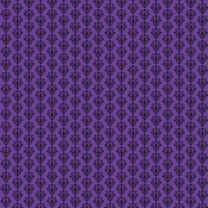 Sm Spooky Purple & Black Damask