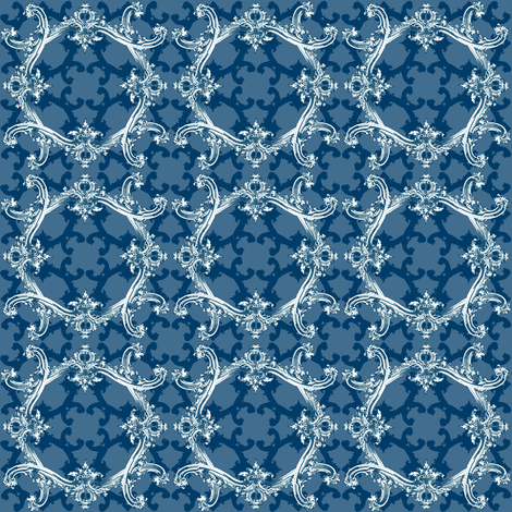 Rococo Swag ~ Agamemnon Blue and White ~ III  fabric by peacoquettedesigns on Spoonflower - custom fabric