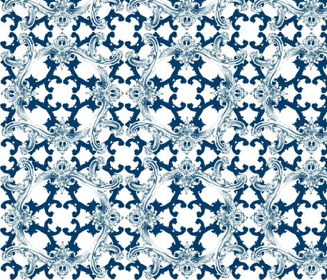 Rococo Swag ~ Agamemnon Blue and White ~ I fabric by peacoquettedesigns on Spoonflower - custom fabric