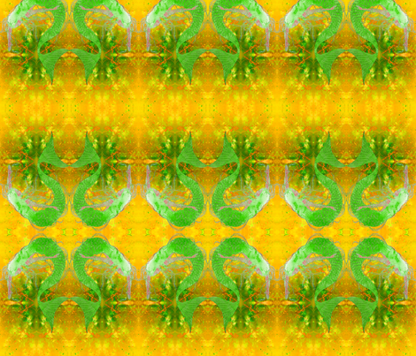 Ali's Mermaid in mirror image fabric by greenlotus on Spoonflower - custom fabric