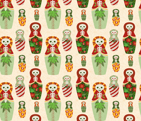 skelly nesting dolls fabric by skellychic on Spoonflower - custom fabric