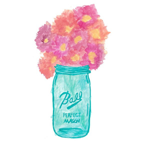 Watercolor Mason Jar with Flowers