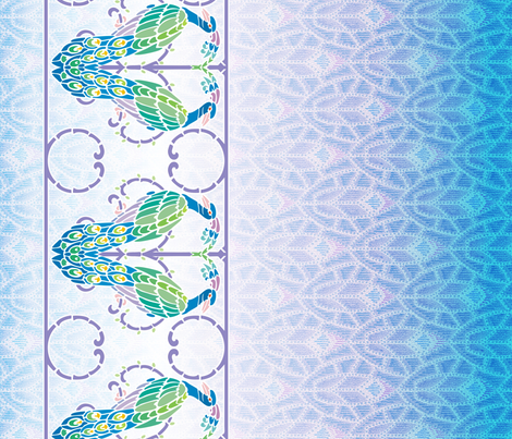 Deco Peacock border, light fabric by hannafate on Spoonflower - custom fabric