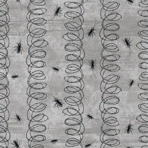 Barbed wire stripes with cockroaches, dark grey