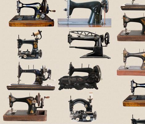 Vintage Sewing Machine Wall Fabric Nannasally Spoonflower New Vintage Sewing Machine Fabric