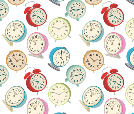 Retro Clock Fabric Design- White Background fabric by bella_modiste on Spoonflower - custom fabric