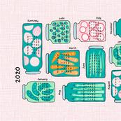 pickled veggies  tea towel calendar 2020 (pink)