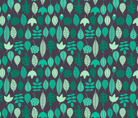 Autumn leaves in green fabric by heleen_vd_thillart on Spoonflower - custom fabric