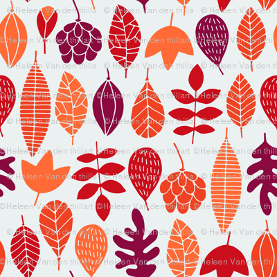 Autumn leaves in red